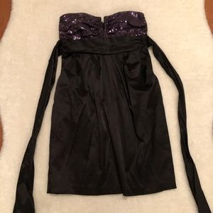 Black and purple sequin strapless Party  Dress